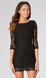 3/4 Sleeve Black Mini Dress