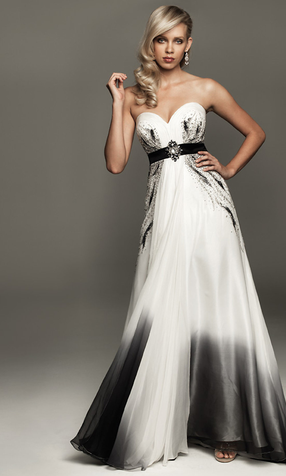 Long Strapless Black And White Dress Promgirl