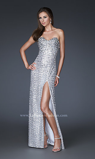 Sexy Strapless Sequin Evening Gown by La Femme
