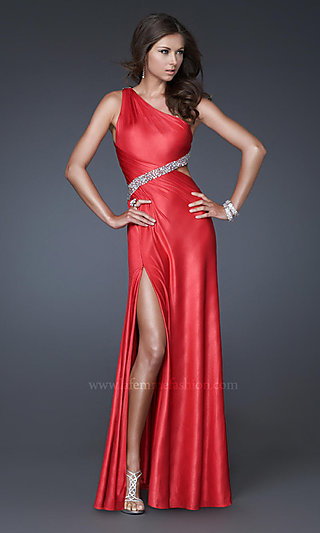 One-Shoulder Sexy Jersey Open-Back Prom Dress