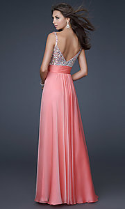 Image of gorgeous floor-length La Femme prom dress. Style: LF-16802 Back Image