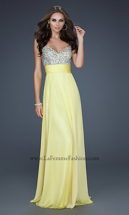 Image of gorgeous floor-length La Femme prom dress. Style: LF-16802 Front Image