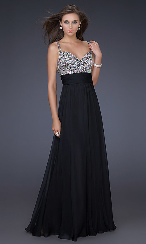 Image of gorgeous floor-length La Femme prom dress. Style: LF-16802 Detail Image 3