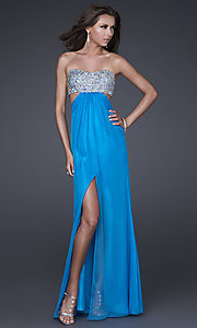 Strapless Beaded Evening Gown by La Femme