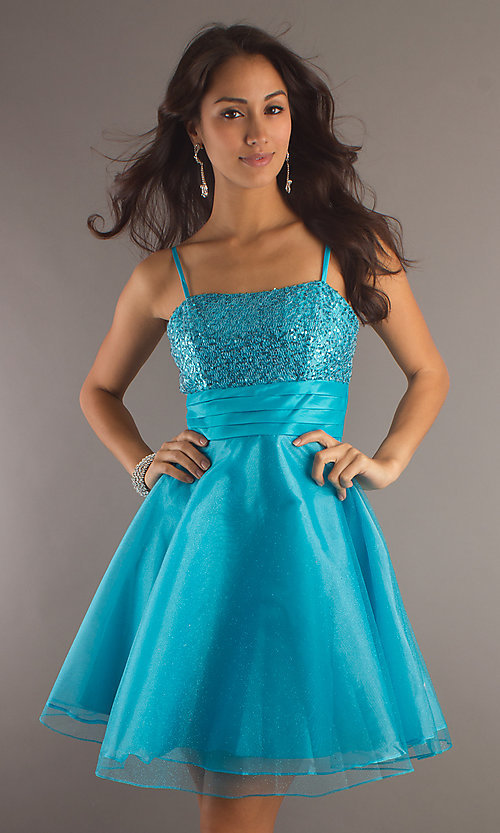 Image of a-line sequin-bodice party dress. Style: DQ-7730 Front Image