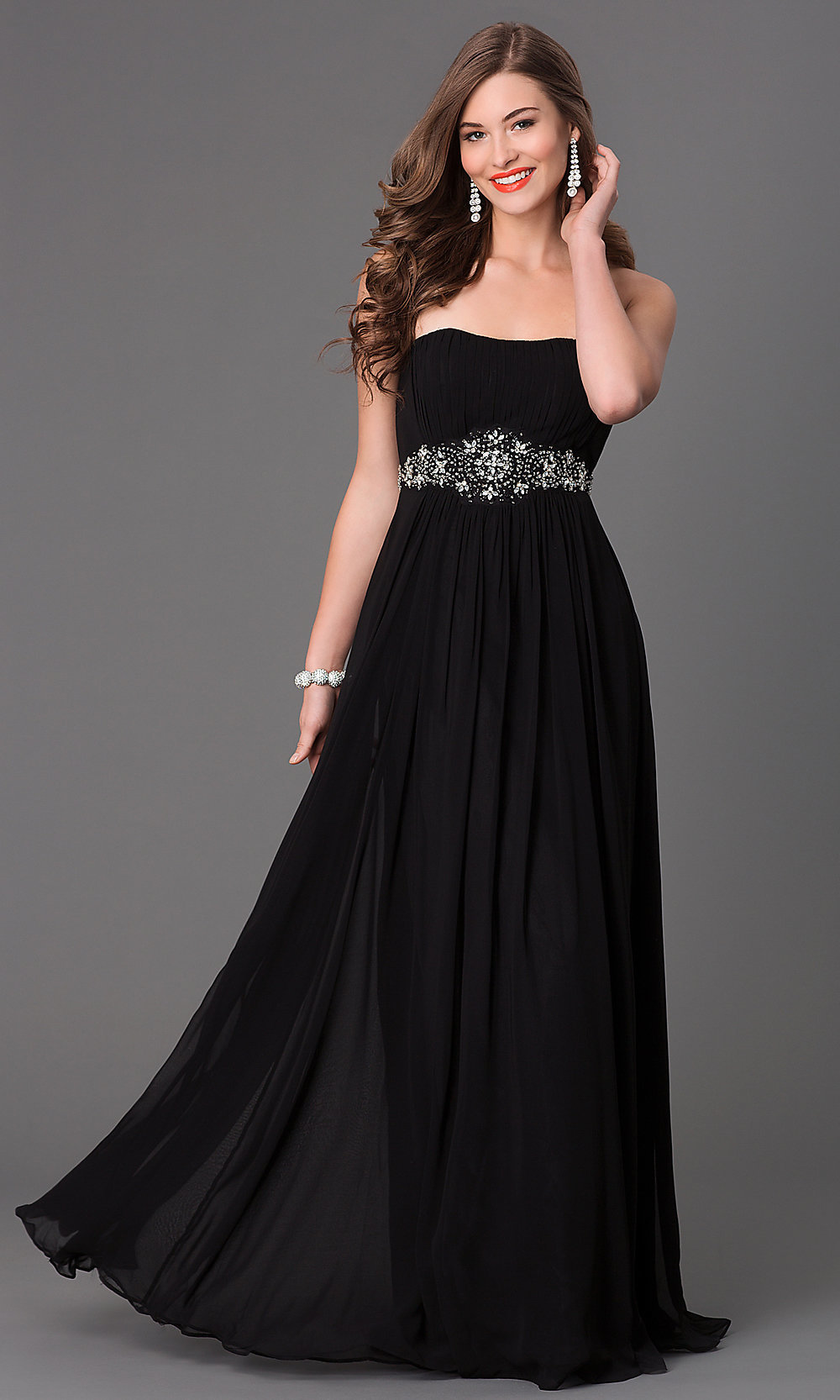 Long Strapless Black-and-White Dress - PromGirl
