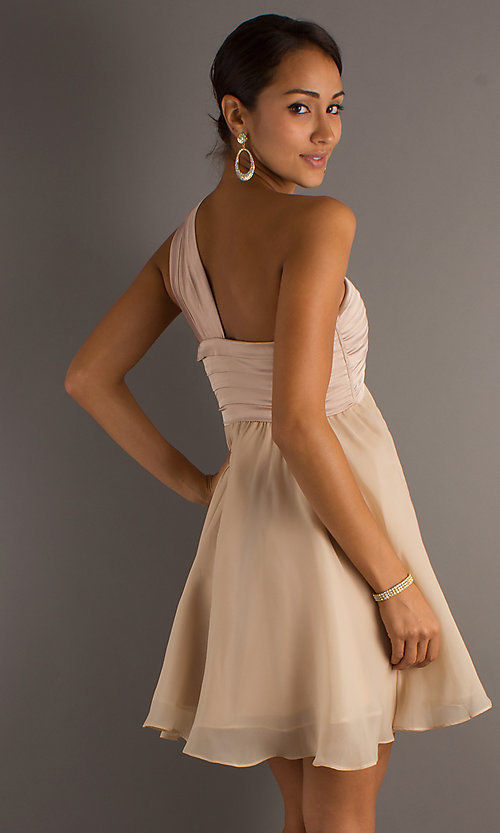Image of a-line one-shoulder mini party dress.  Style: MT-MD-3950 Back Image