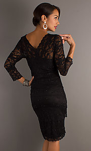 Image of knee-length short lace cocktail dress with sleeves.  Style: JU-MA-269429 Back Image