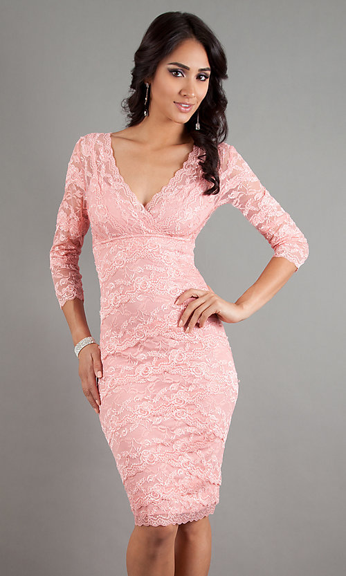 Image of knee-length short lace cocktail dress with sleeves.  Style: JU-MA-269429 Front Image