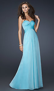 Long Ruched Open-Back Prom Dress by La Femme