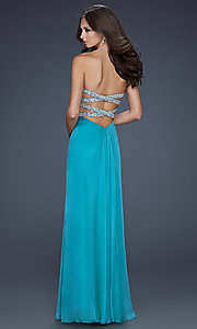 Image of long ruched open-back prom dress by La Femme. Style: LF-17437 Back Image