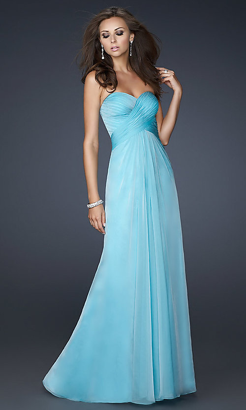 Image of long ruched open-back prom dress by La Femme. Style: LF-17437 Front Image
