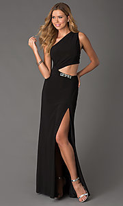 Long One Shoulder Cut Out Gown by Jasz