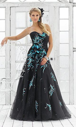 Black Peacock Ball Gown for Prom by Blush