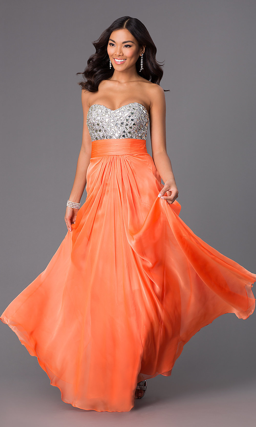 La Femme 24336 - Strapless Sweetheart Tulle A-Line with