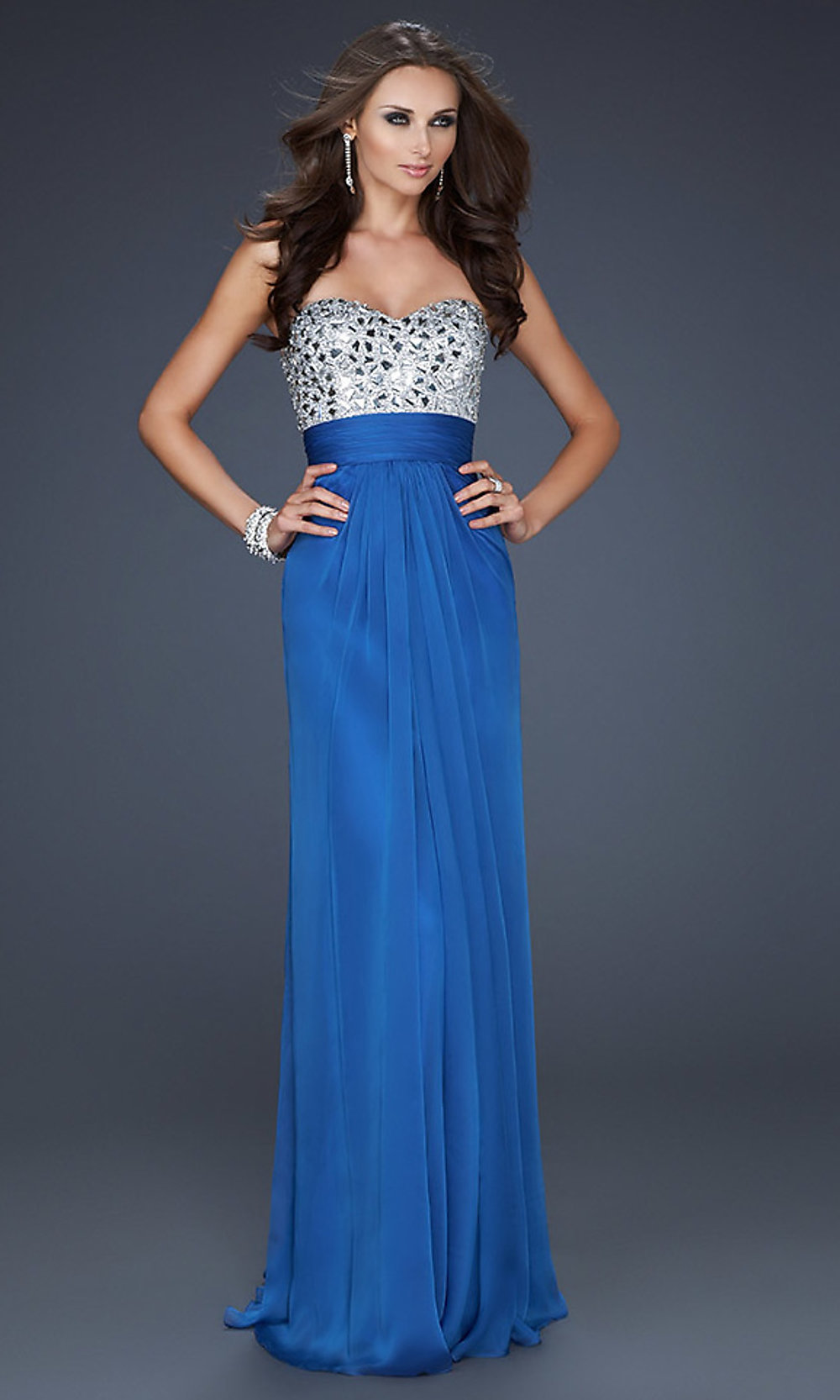 Beaded Strapless Prom Gowns, La Femme Strapless Gowns- PromGirl