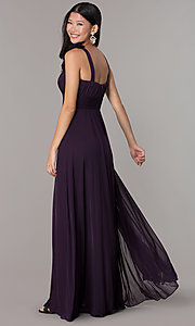 Image of sleeveless full-length formal sweetheart dress. Style: DQ-8115 Back Image