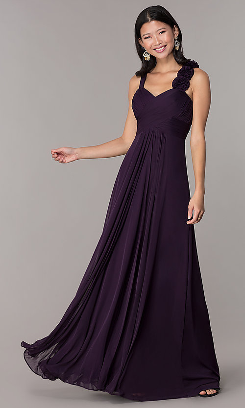 Image of sleeveless full-length formal sweetheart dress. Style: DQ-8115 Front Image
