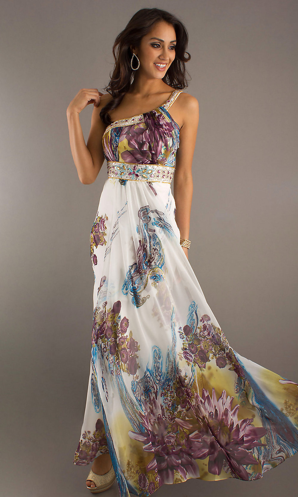 Long Print Prom Dresses, One Shoulder Gown- PromGirl