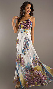 Long One Shoulder Print Dress