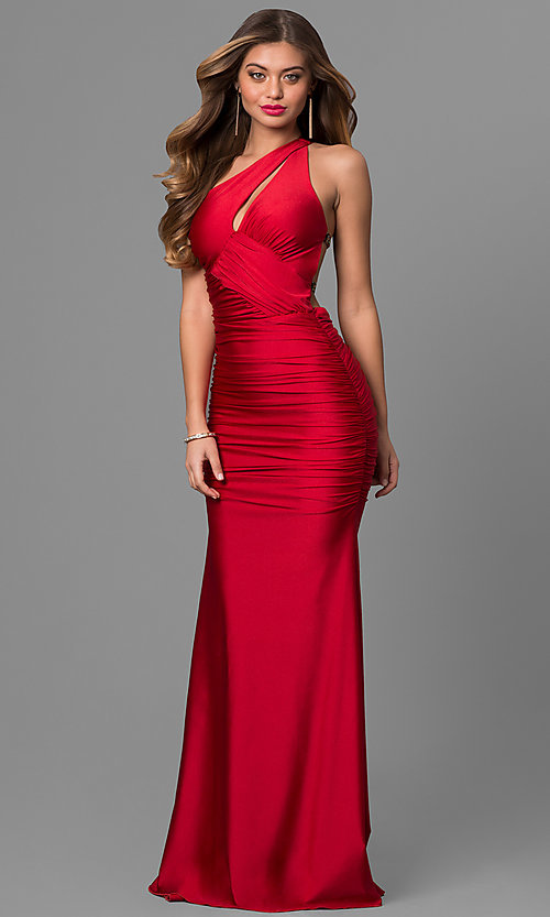 Image of long Atria one-shoulder mermaid dress.  Style: AT-AC2054 Front Image