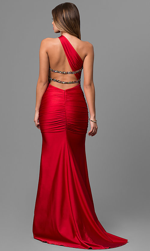 Image of long Atria one-shoulder mermaid dress.  Style: AT-AC2054 Back Image
