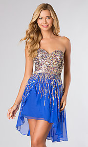 Short Strapless Sequin Dress by Sherri Hill 8443