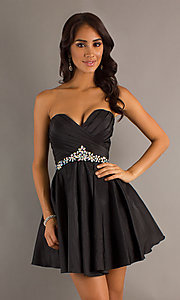 Short Strapless Black Dress by Alyce Designs 4250