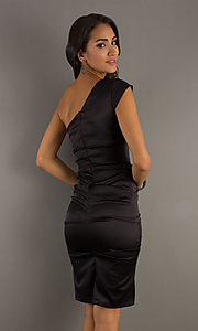 Image of short one-shoulder dress by Sally Fashions. Style: SF-8696 Back Image