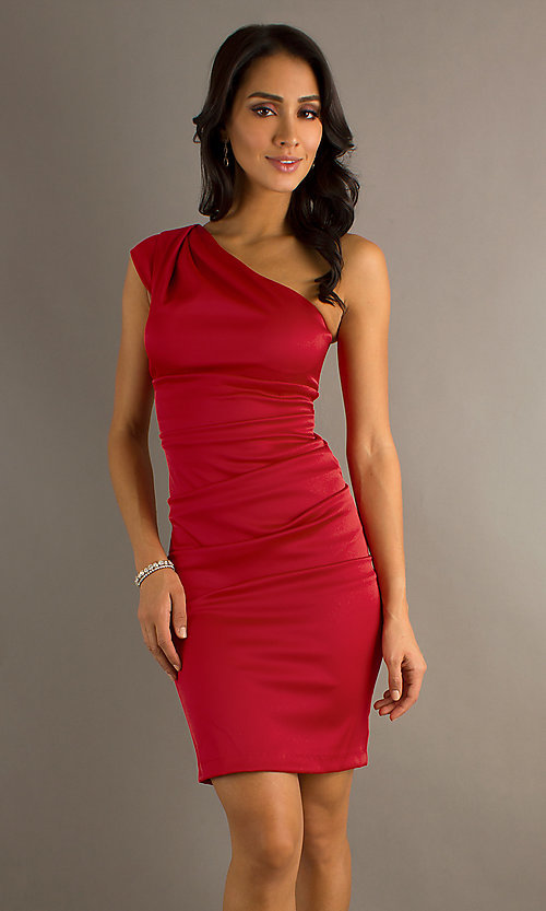 Image of short one-shoulder dress by Sally Fashions. Style: SF-8696 Front Image