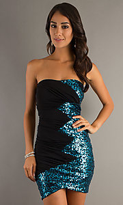 Short Strapless Dress with Sequins by City Triangles