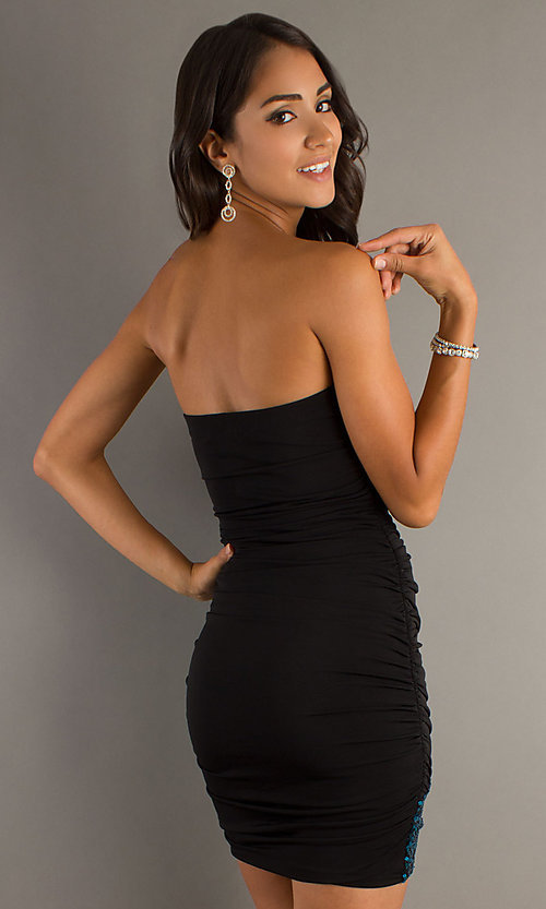 Short Strapless Dress with Sequins - PromGirl