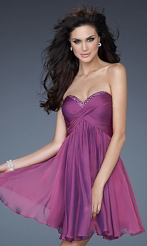Image of strapless chiffon short prom dress by La Femme.  Style: LF-18177 Front Image