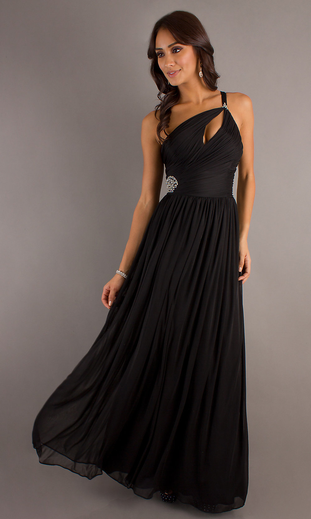 one shoulder black prom dress