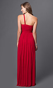 Image of floor-length one-shoulder prom dress. Style: DQ-8323 Back Image