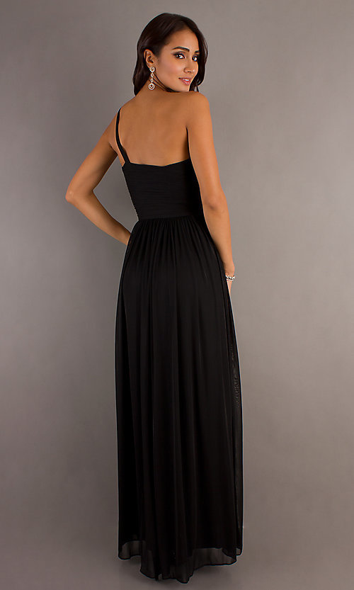 Image of floor-length one-shoulder prom dress. Style: DQ-8323 Detail Image 2
