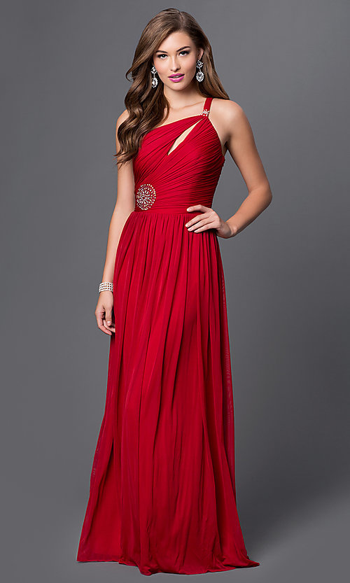 Image of floor-length one-shoulder prom dress. Style: DQ-8323 Front Image