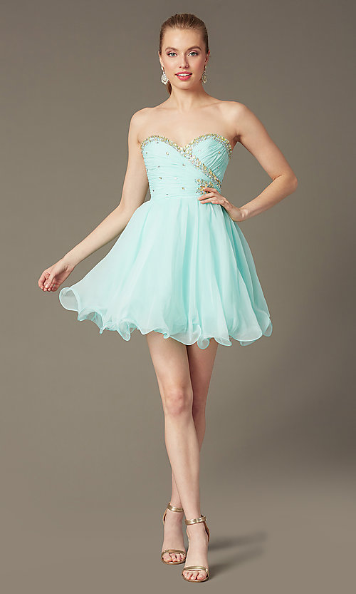 87a7cfa4188e4 Short Strapless Prom Dresses, Party Dresses- PromGirl