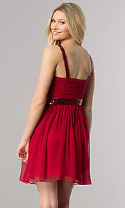 Image of short sleeveless homecoming party dress with sequins.  Style: DQ-8381 Detail Image 3