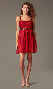 Image of short sleeveless homecoming party dress with sequins.  Style: DQ-8381 Detail Image 2