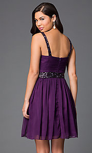 Image of short sleeveless homecoming party dress with sequins.  Style: DQ-8381 Back Image