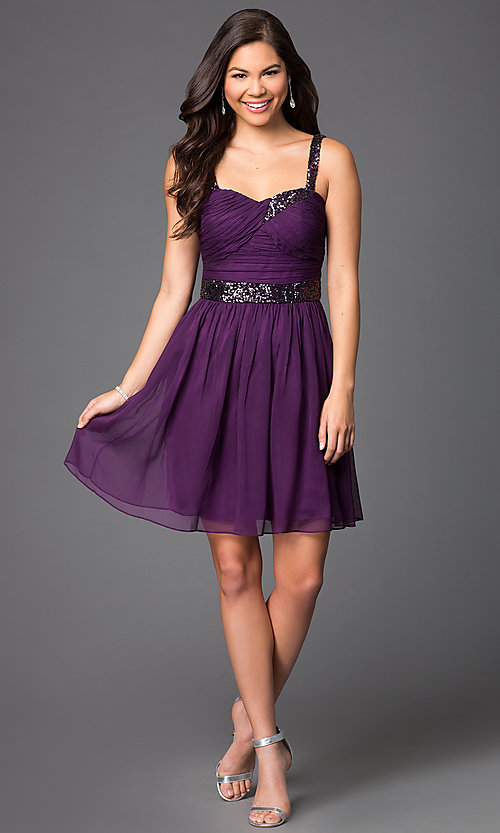 Image of short sleeveless homecoming party dress with sequins.  Style: DQ-8381 Detail Image 1
