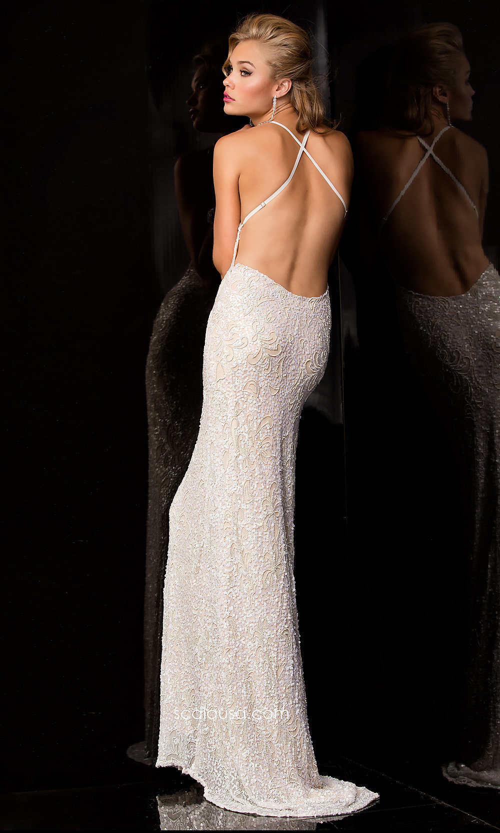 Sequin Gown With Open Back Scala Sequin Long Dresses
