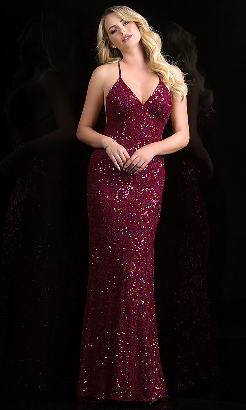 Sequin Gown with Open Back, Scala Sequin Long Dresses- PromGirl