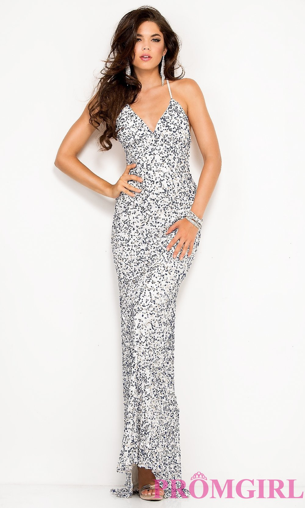 Scala Long Sequin V-Neck Dresses, Open Back Prom Gowns- PromGirl