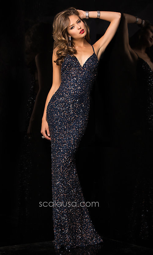 Long Prom Dress Style: Scala-47551 Detail Image 6
